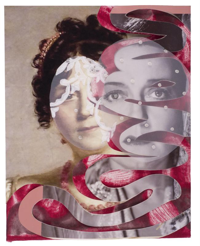 """Marijke Schurink, """"Fien de la Mar; versierd portret"""", 2016, foto, foto van het schilderij van Joséphine de Beauharnais, vrouw van Napoleon, textiel, 28 x 21 cm. Foto: Theo Naessens."""