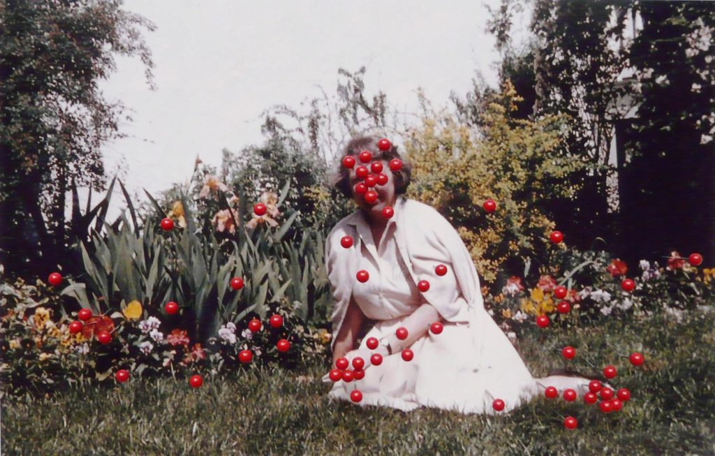"""Iris Legendre, serie: Foto's, """"Besmetting"""", 2012, knopspelden op foto, 20 x 27cm."""