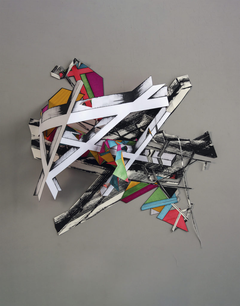 "Linda Leeuwestein, ""Kruispunt (Intersection)"", 2017, mixed media, papier, 100 x 70 x 20 cm (foto: Linda Leeuwestein)."