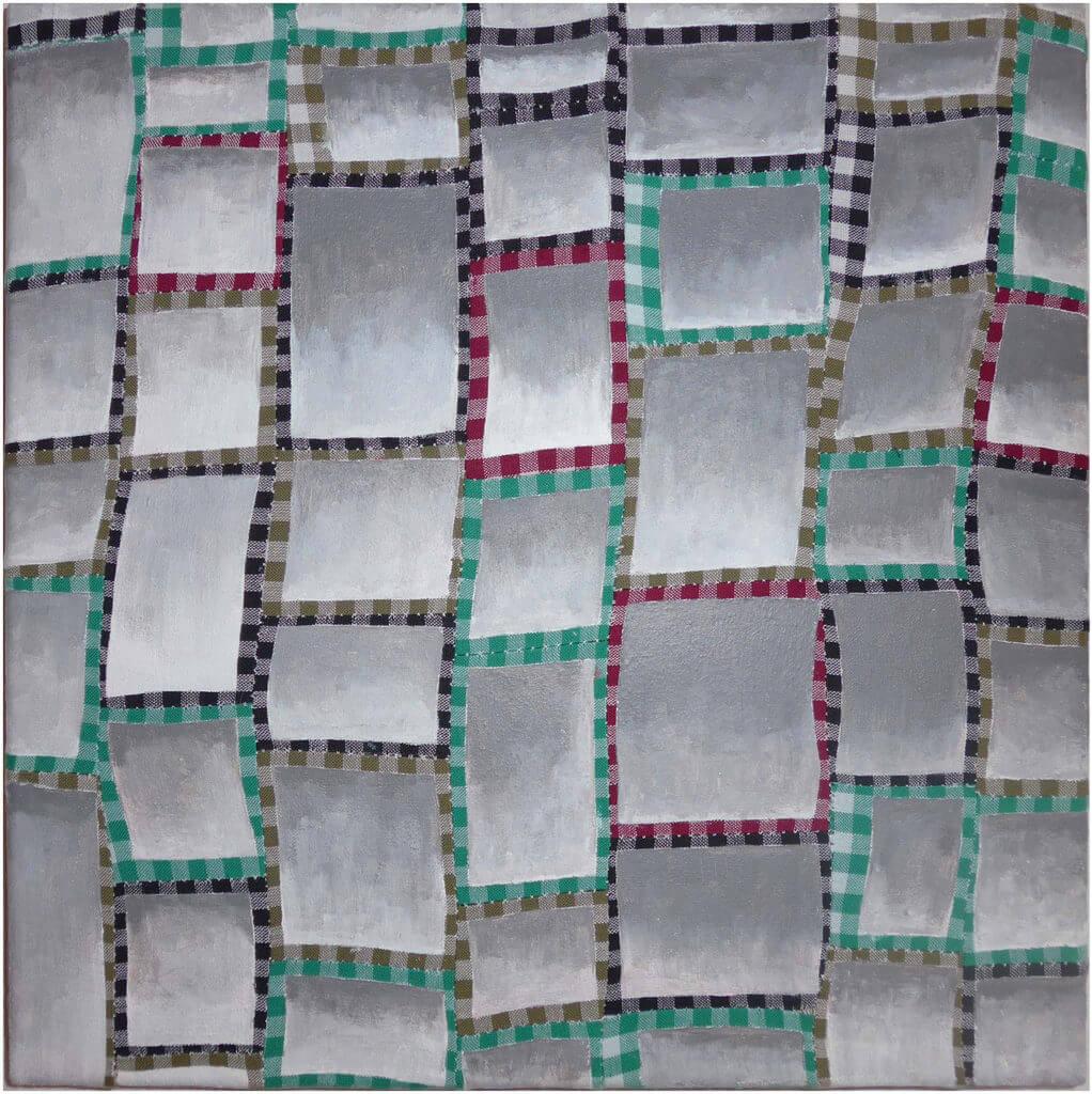 "Carina Ellemers, ""Shades in squares"", 2016, genaaid geruit katoen met grijze en witte acrylverf, 30 x 30 cm."