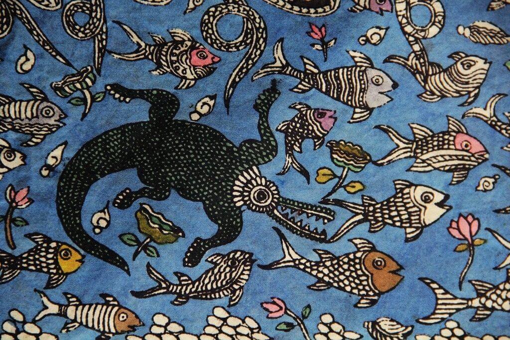 Een detail van een Mata ni Pachedi (foto: Hitanshu Bhatt, copyright: Textiel Factorij).