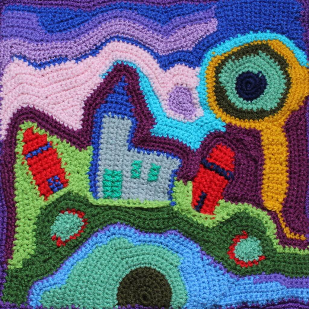 "Christie Greeve, ""Wool painting"", 2016 vrij gehaakt, 30 x 30 cm (foto: Aida Samaniego Tersmette)."