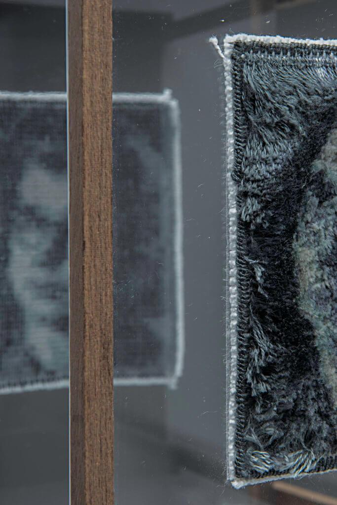 """An Packbiers met haar werk """"Spiegelbeeld"""" (detailfoto) - publiekswinnaar Textiel Plus Arts & Crafts Wedstrijd 2018"""