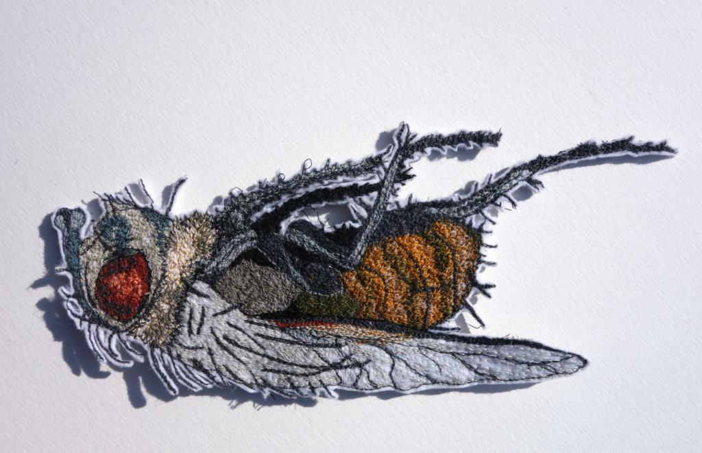 "Sandra Mackus, detail serie ""insecten"", 2018, 23 x 10 cm., draad en vilt"