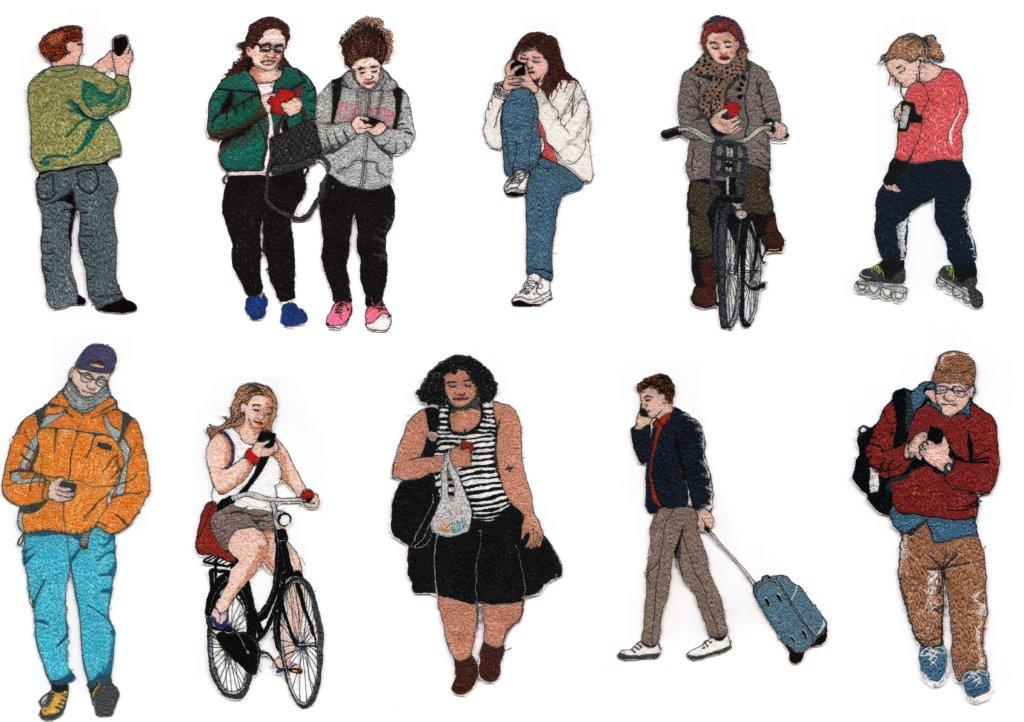 "Sandra Mackus, serie ""appende mensen"", 2018, diverse afmetingen, draad en vilt"