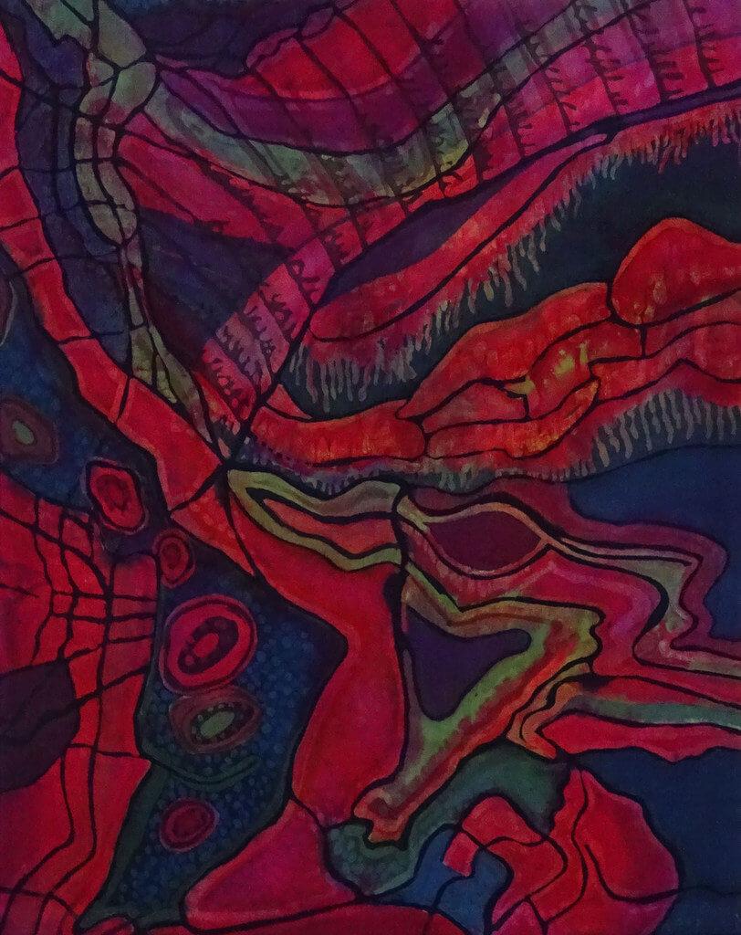 """Ria van Dijk, """"Earth Layers"""", 2018, batik op katoen, 90 x 70 cm (foto: Ria van Dijk)."""