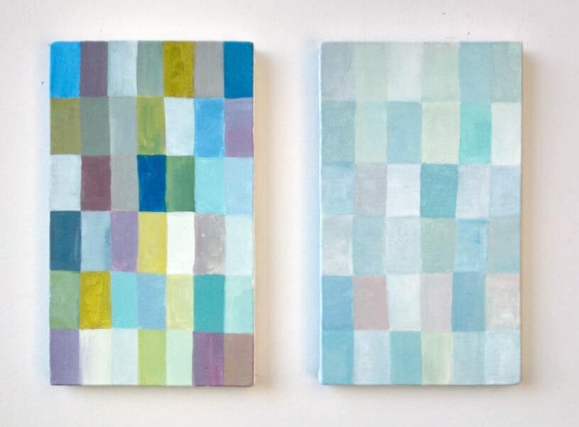 "Rosa Johanna, ""No Title Nr 46"", ""No Title Nr 55"", 2017, acryl op doek."