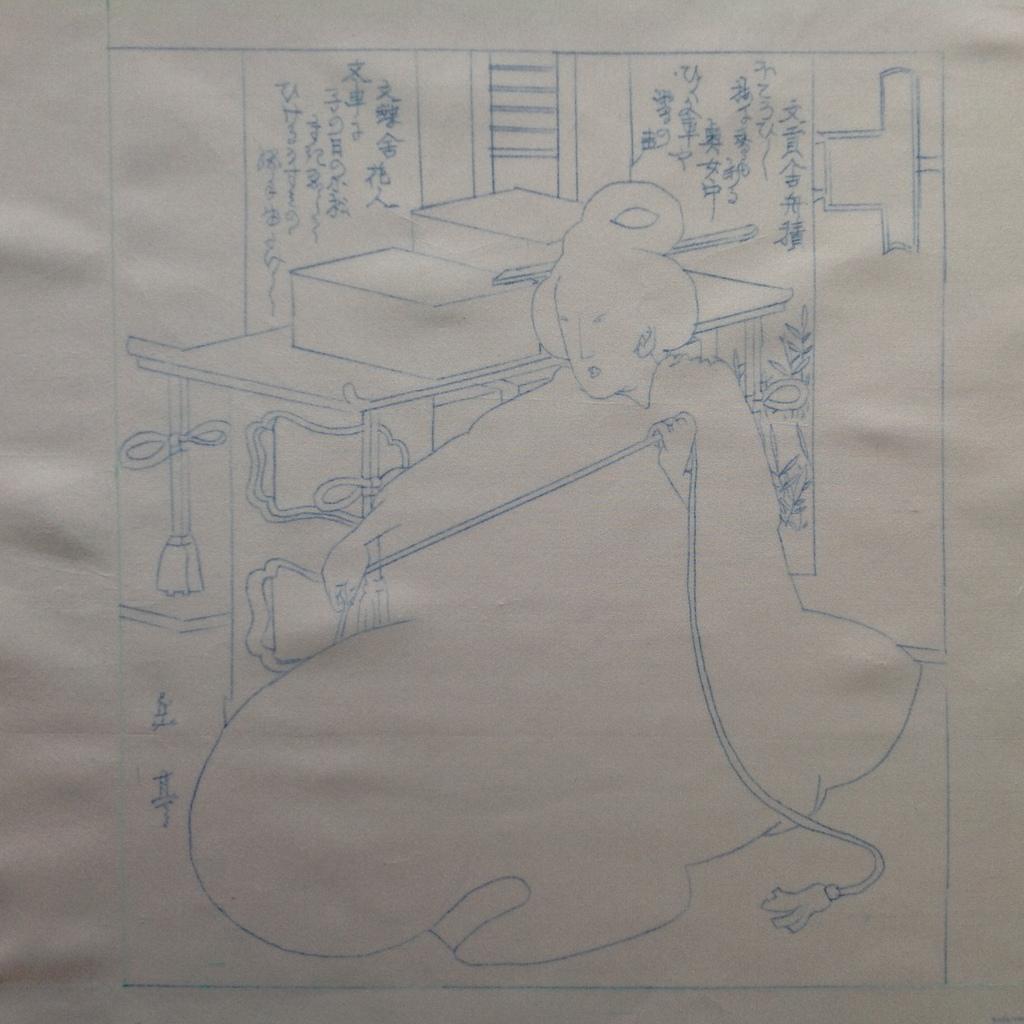 Stap 1: Een gedetailleerde tekening in permanente inkt op stof (foto: Minke van de Zande).