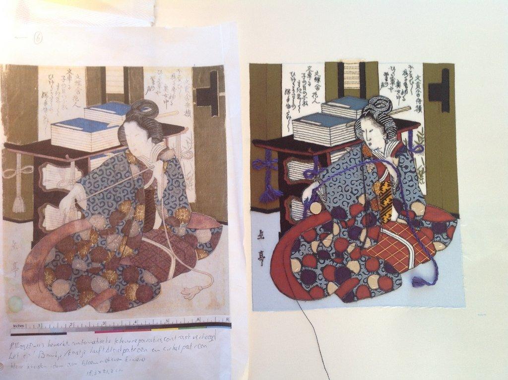 Stap 13: De plooien in de kimono van macramé maken (foto: Minke van de Zande).