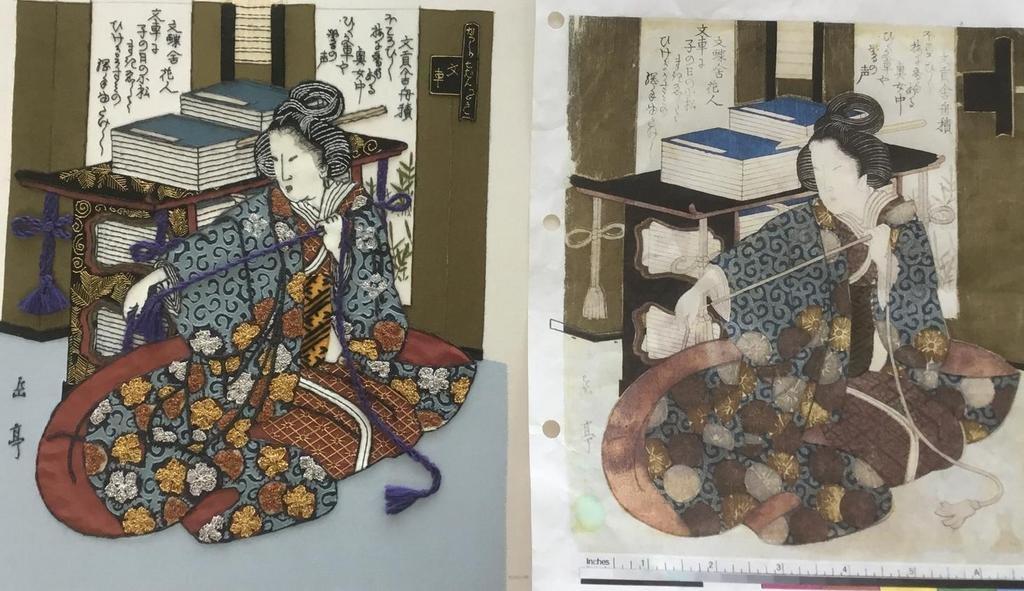 Stap 15: De textiele reconstructie van de Japanse prent is klaar (foto: Minke van de Zande).