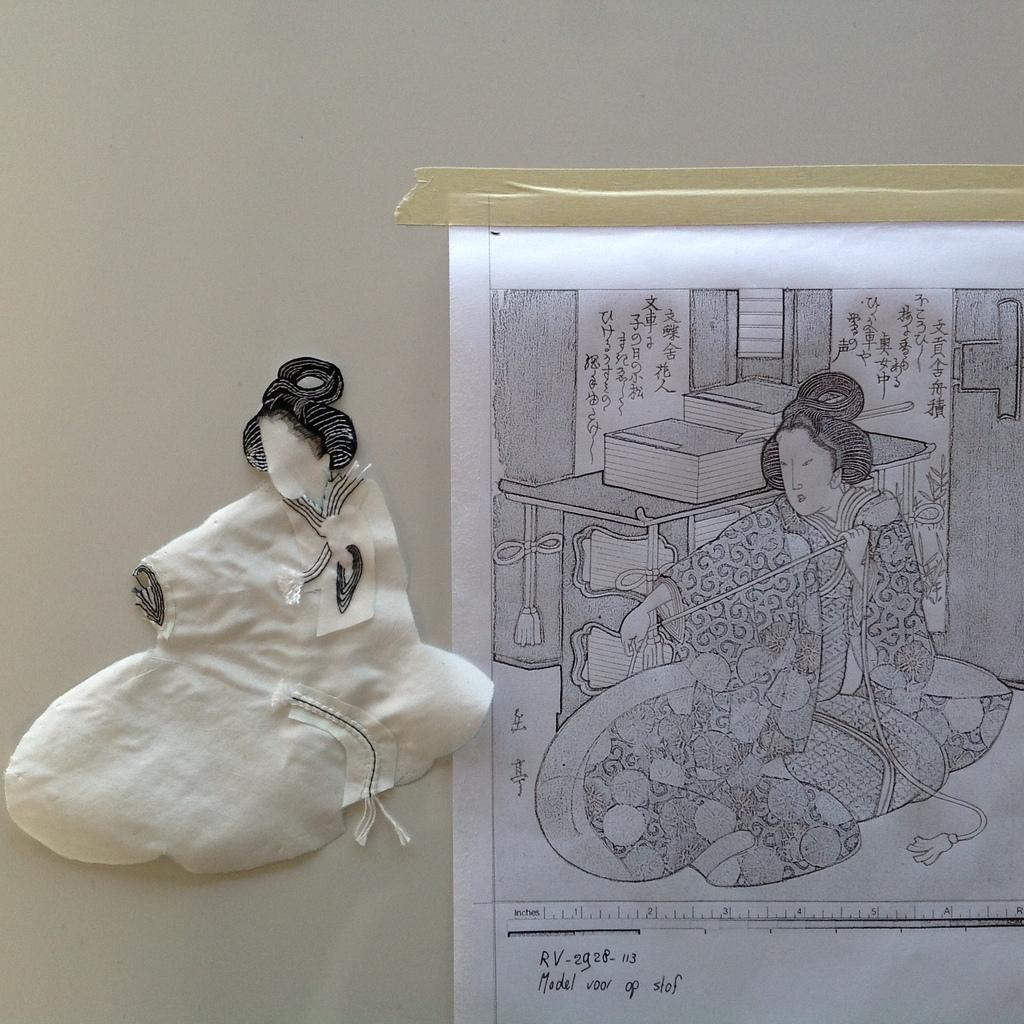 Stap 2: De eerste laag van de kimono (foto: Minke van de Zande).