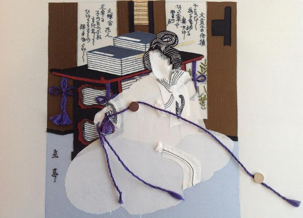 Stap 8: Het borduren van gedicht, bladeren en lijnen (foto: Minke van de Zande).