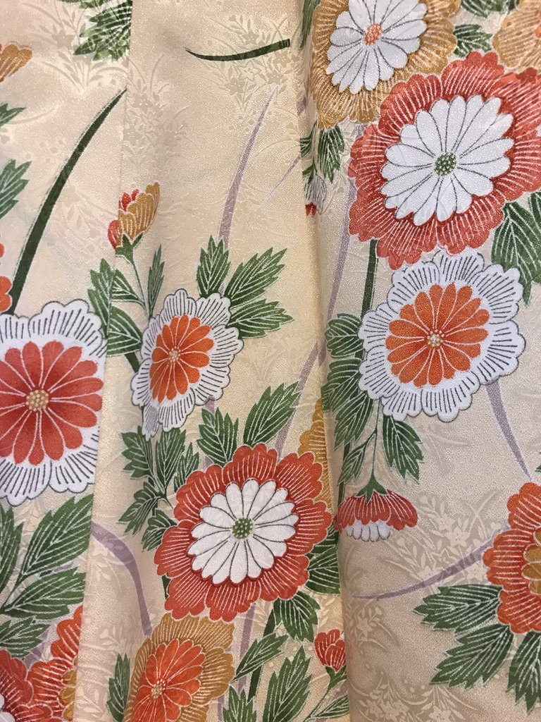 Detail van een zijden kimono.