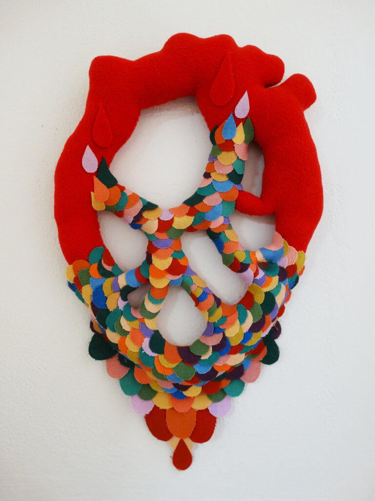 "Federica Castrico, ""Cuore Buona"" / ""Heart"", fleece pile and cotton, 40 x 24 cm."