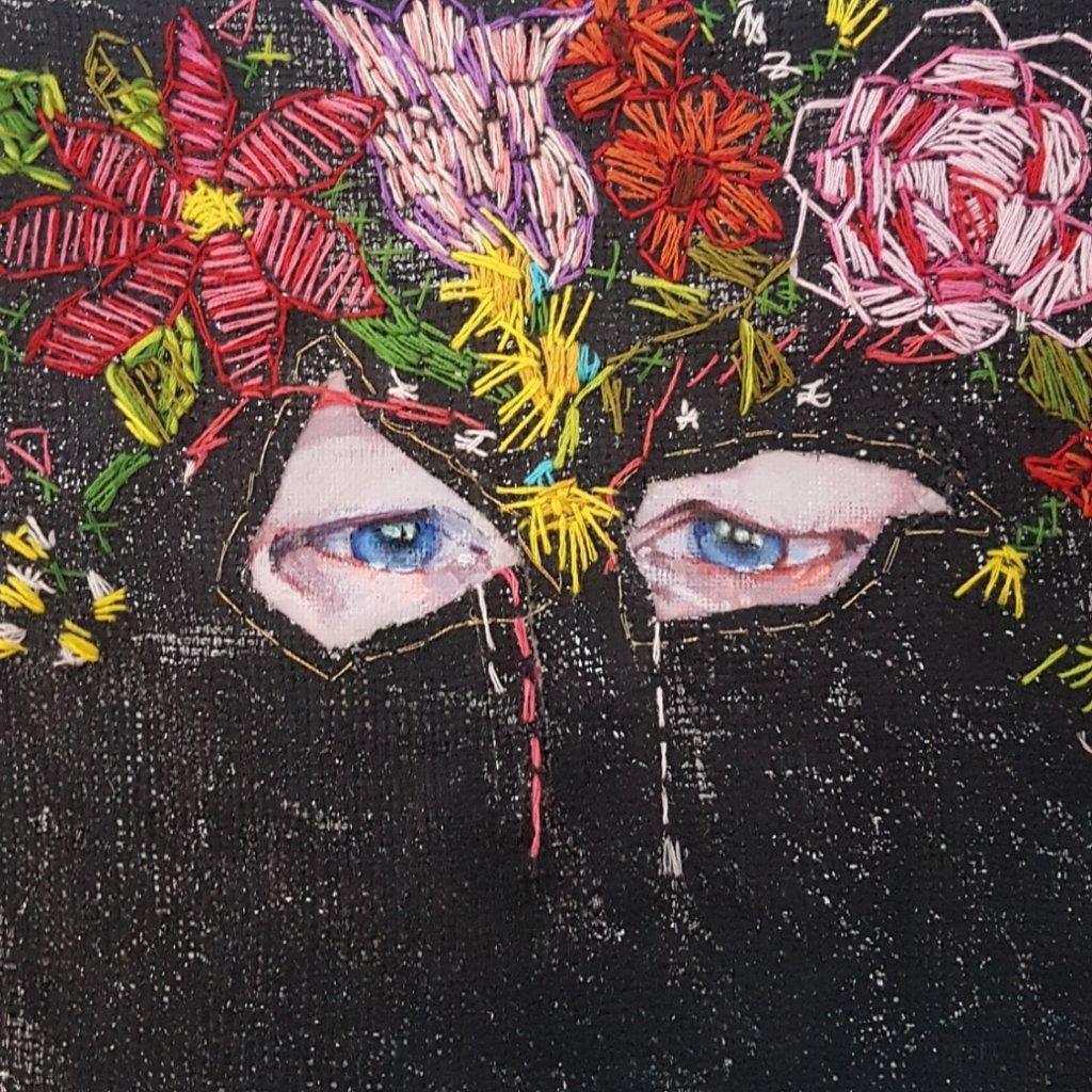 "Petra Koenen, ""Tears"", mixed-media, 20 x 20 cm."