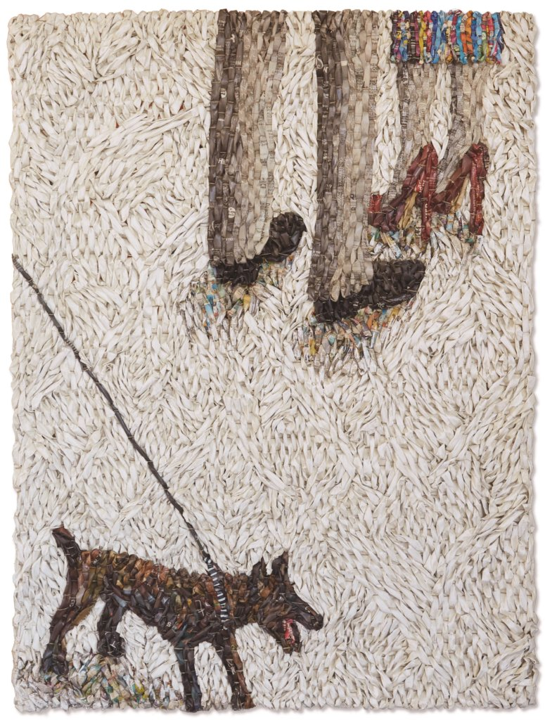 Gugger Petter, 'Dog on Leash with Two People', krant en mixed media,162 x 123 cm.