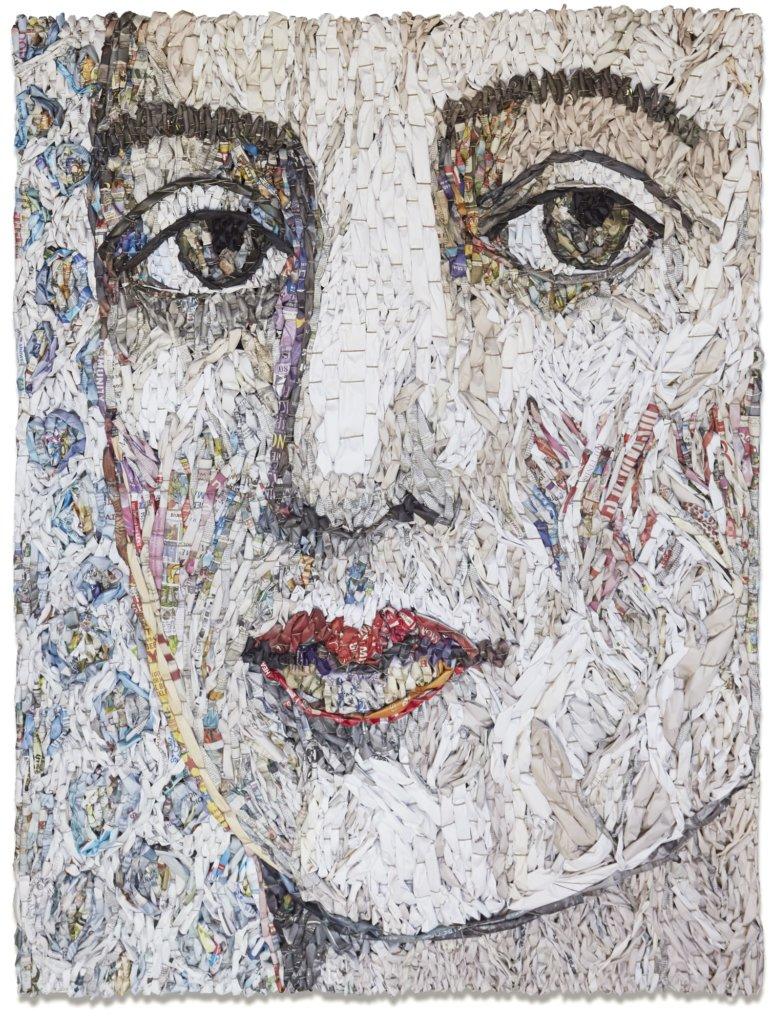 Gugger Petter, 'Female Portrait #1', krant en mixed media. 180 x 137 cm.