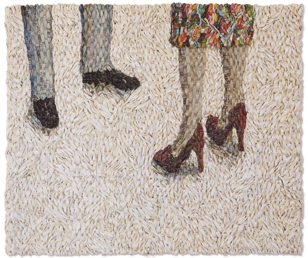 Gugger Petter, 'Man and woman meeting', krant en mixed media, 120 x 140 cm.