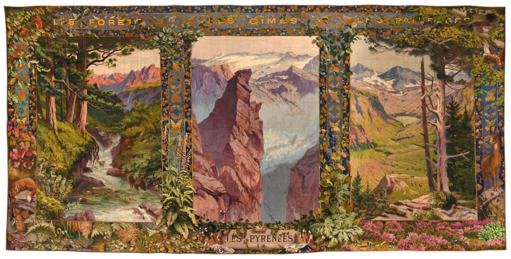 Edmond Yarz (1846-1921), The Pyrenees from the series Provinces and Cities of France, 1924 Manufacture des Gobelins 372 × 771 cm, wool, silk Collection Mobilier national © Mobilier national (foto: Isabelle Bideau).