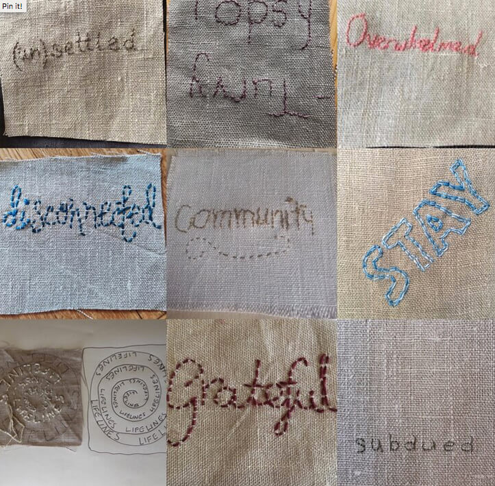 Contributions to Claire Wellesley Smith's Covid-19 stitch journal. Photo: C. Wellesley Smith.