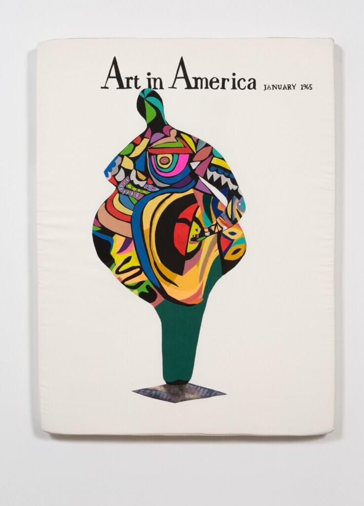 "Megan Whitmarsh, ""Art in America/ Niki de Saint Phalle 1965"", 2018, 76 x 100 x 6 cm, borduurgaren, potlood, stof en schuimrubber, (foto: Aaron Farley), courtesy Over the Influence galerie, Los Angeles."