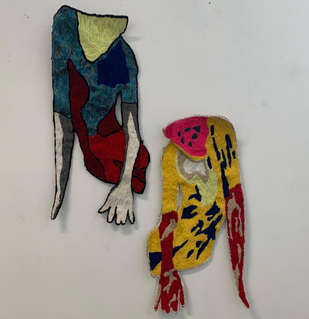 "Ray Zijlstra, ""Les Danseurs"", 2012, zijde en acrylwol, l. 95 x 45 cm, r. 85 x 43 cm."
