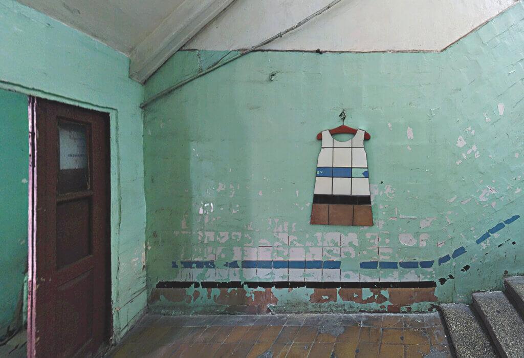 Zhanna Kadyrova, 'Second Hand', 2015-2019,scaffolding, ceramics collected from Darnitsky Silk Factory, cement, wood and Poliske bus station (Chernobyl Exclusion Zone) collected ceramics, mannequin, cement, wood Courtesy the artist and Galleria Continua, Photo by Ela Bialkowska, Okno Studio, Installation view Giardini, La Biennale Di Venezia, 2019.