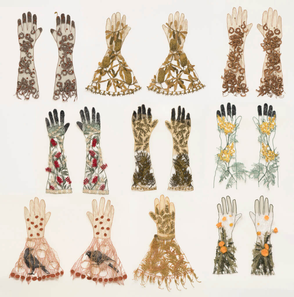"Sharon Peoples, ""Gardening Gloves Wall""."