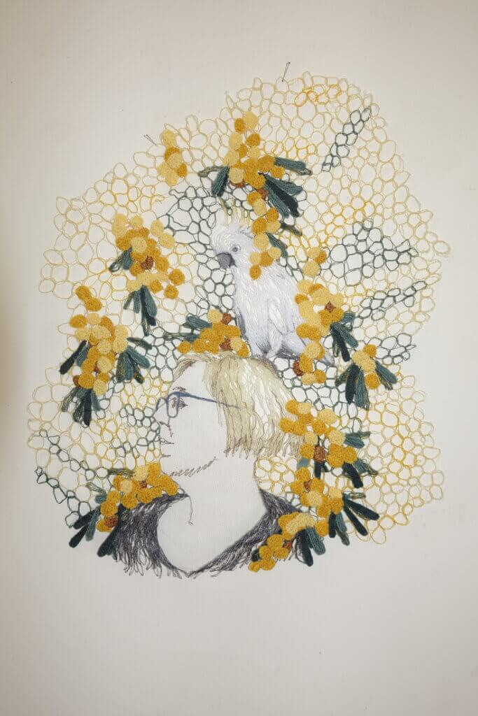 "Sharon Peoples, ""Jeanette Wattle portrait study with cockatoos""."