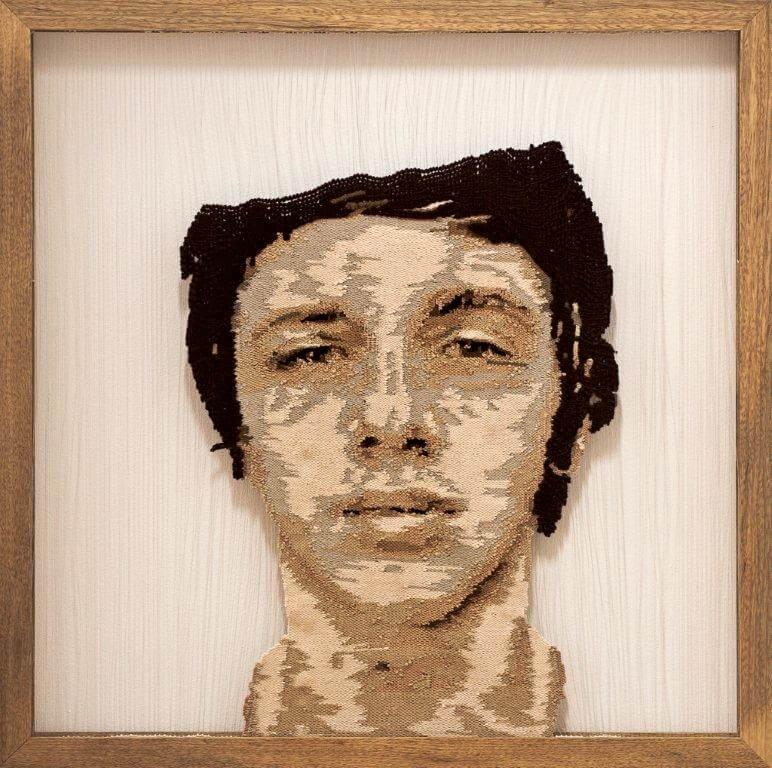"""Fırat Neziroğlu, """"Teenager"""", handgeweven, vislijn, wol, katoen, zijde, 120 x 120 cm, 2010."""