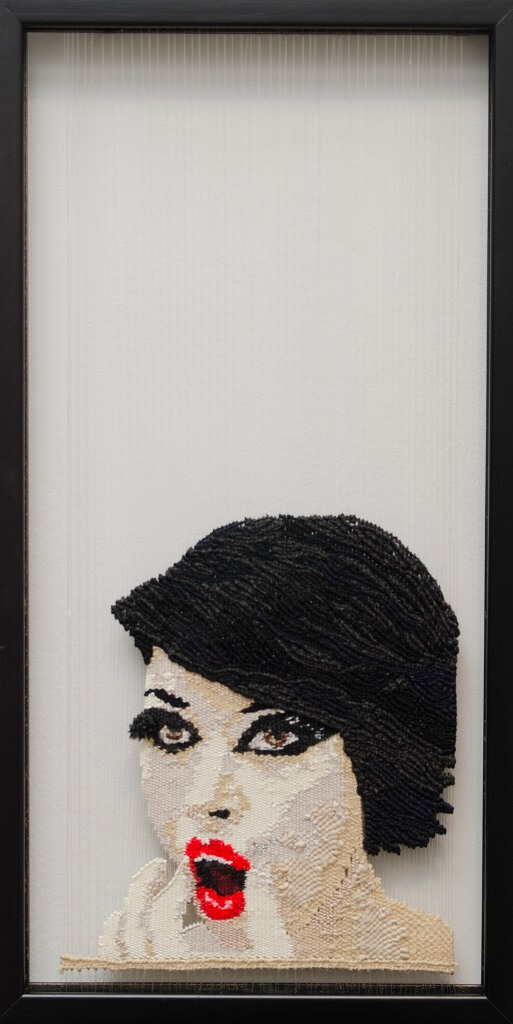 "Fırat Neziroğlu, ""Back Stage"", vislijn, handgeweven, wol, katoen, zijde, 30 x 50 cm, 2015."